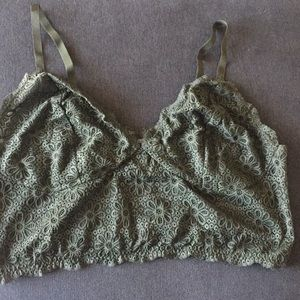 Lovesick army green floral lace bralette